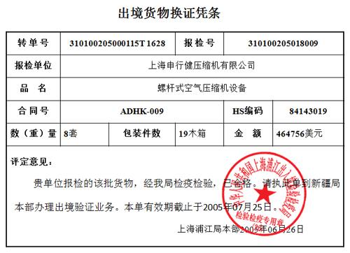 申行健第三批應用于哈薩克斯坦鐵路線空壓機通過商檢局檢驗