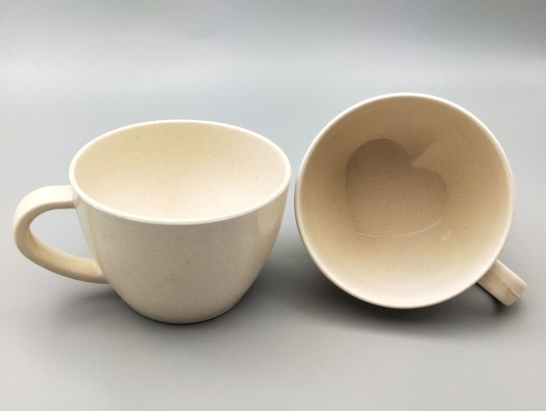 heart shape bamboo fiber coffee cup with handle