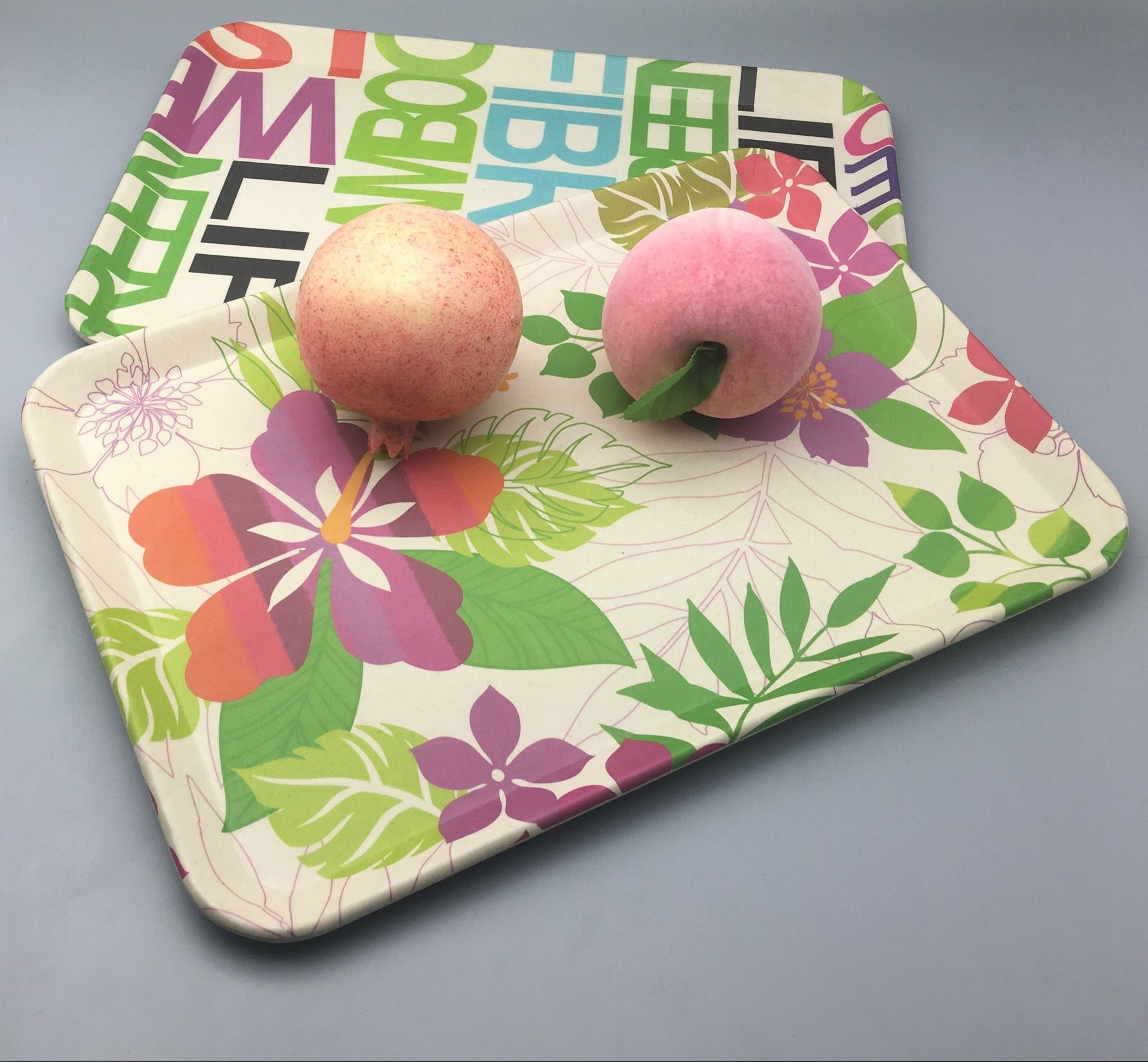 Natural houseware adrorable Bamboo fiber retangular colorful tray