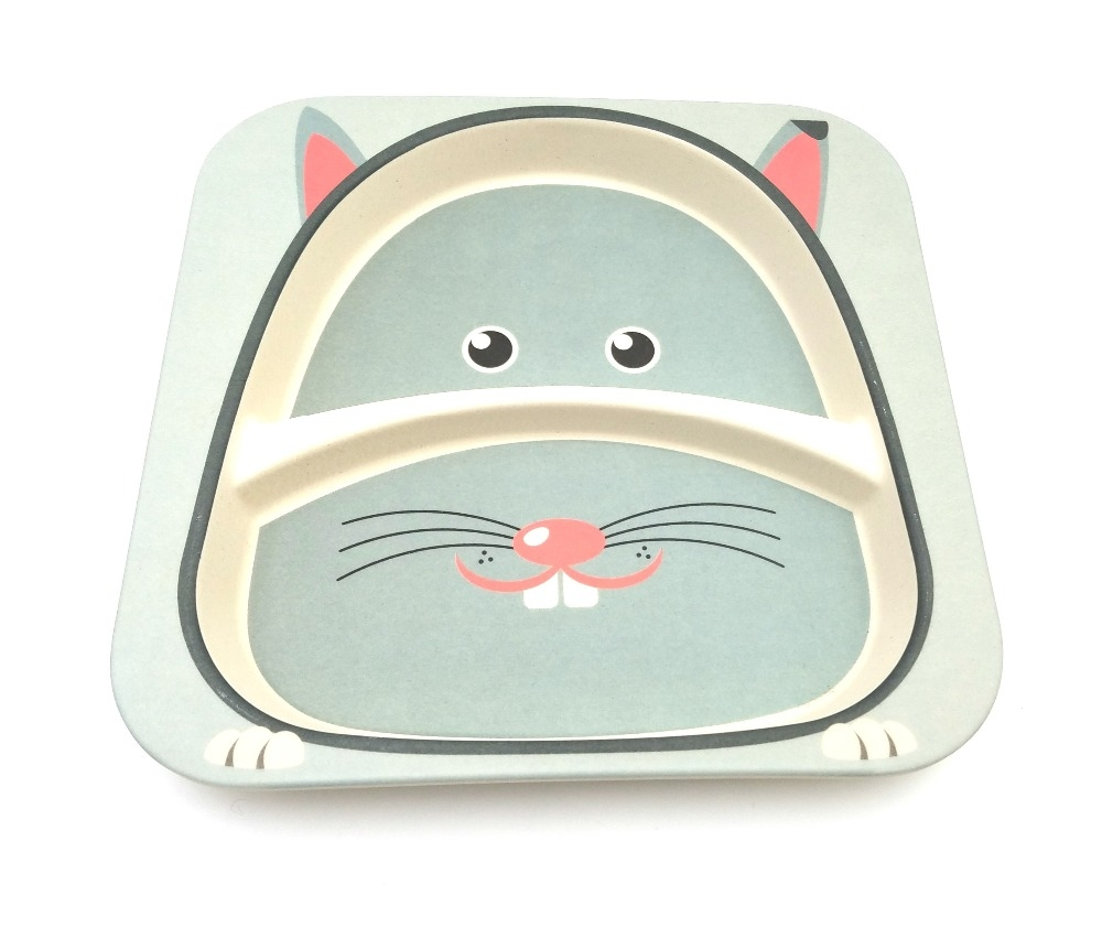 European Standard Biodegradable Eco Bamboo Fiber dinnerware plate for kids