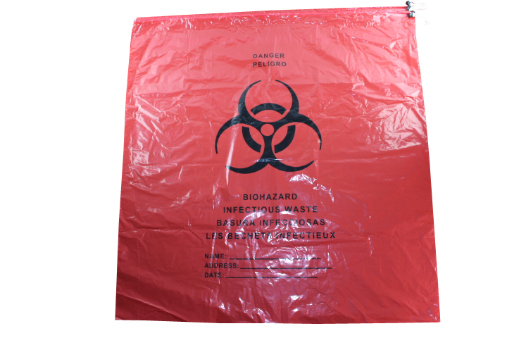 Medical Biohazard Bag (flat bag type or plastic drawcord bag type)